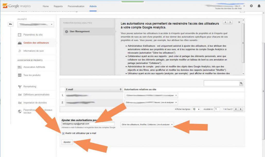 Partage Google Analytics
