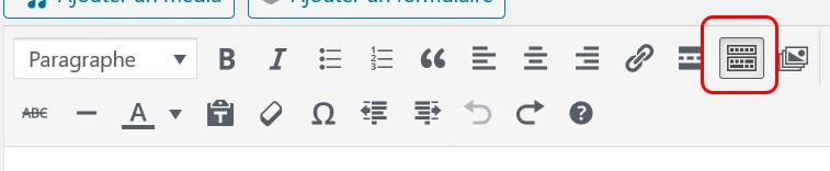 ouvverture de la barre d'outils dans l'éditeur WordPress